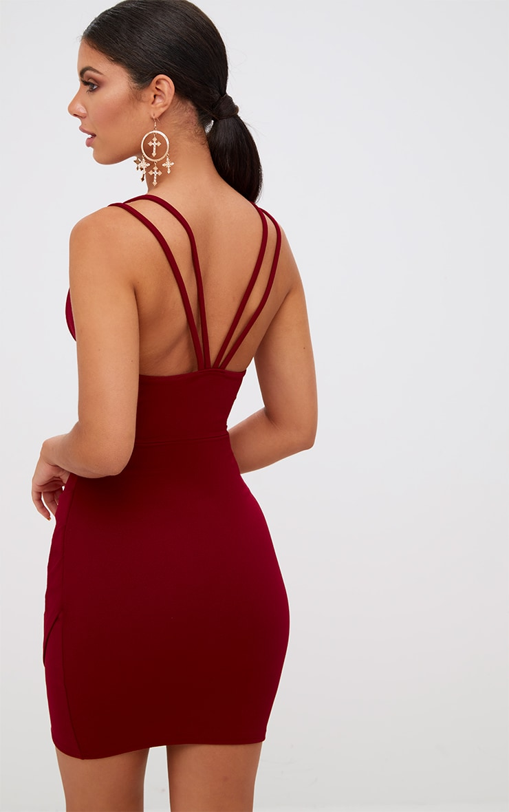 Burgundy Double Strap Wrap Skirt Bodycon Dress 2