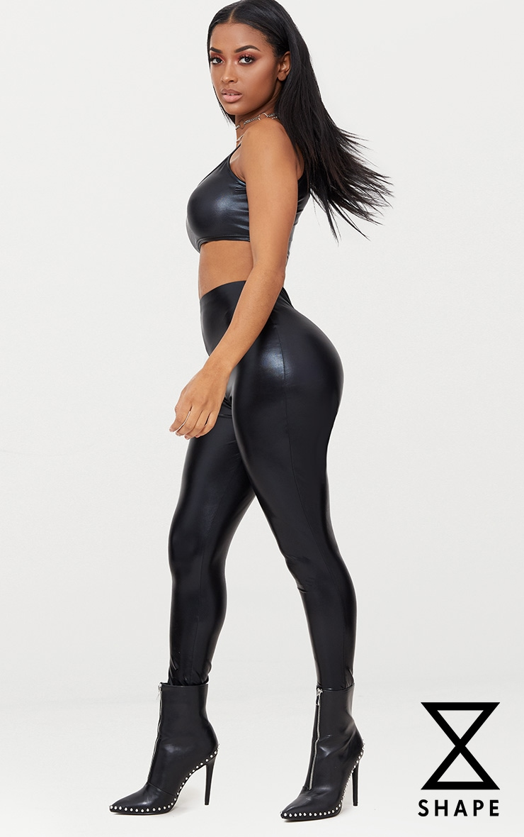 Shape Black Metallic High Waisted Leggings 1