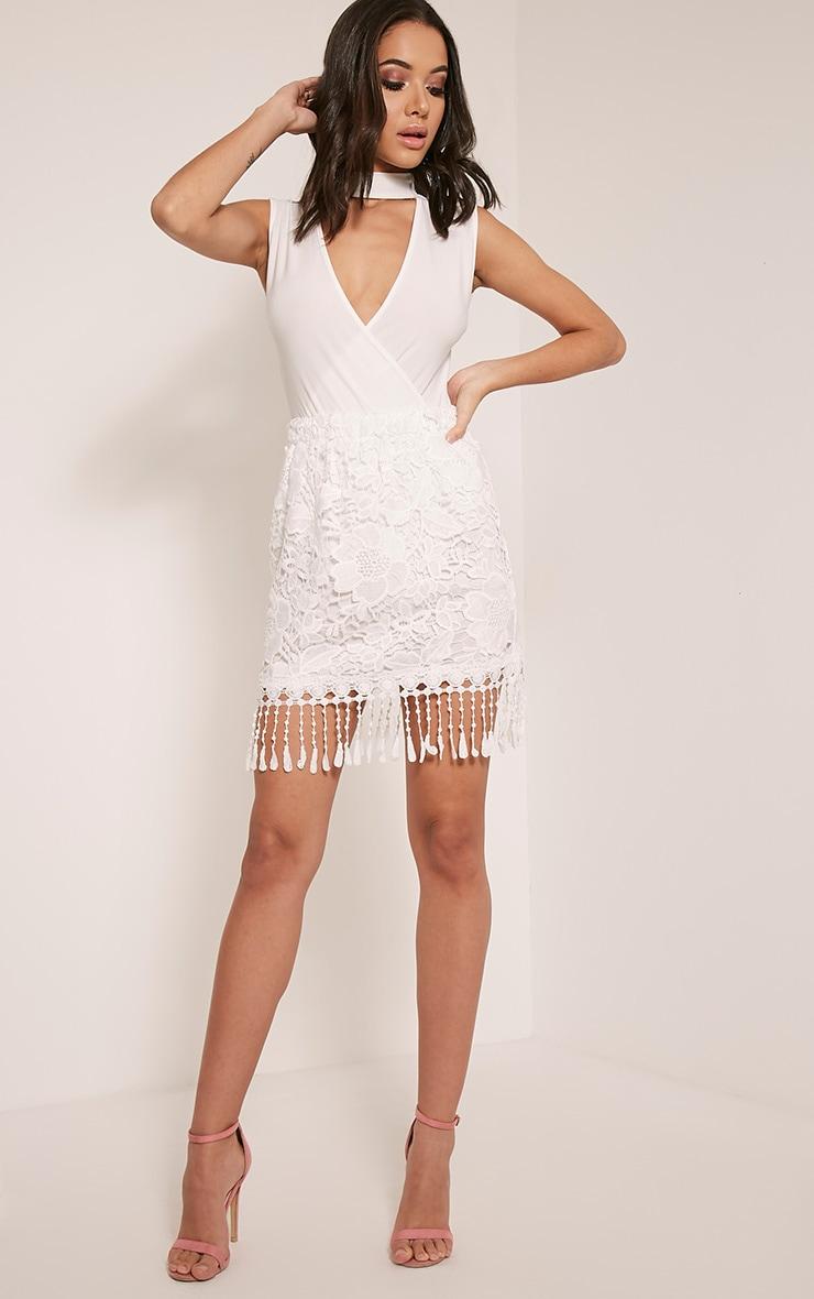 Faithlyn White Tassel Crochet Mini Skirt 6