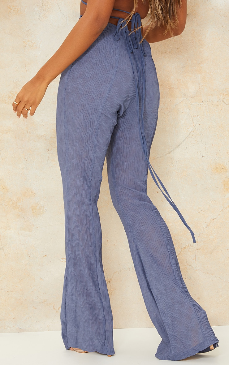 Blue Textured Strappy Wrap Round Flare Pants 3