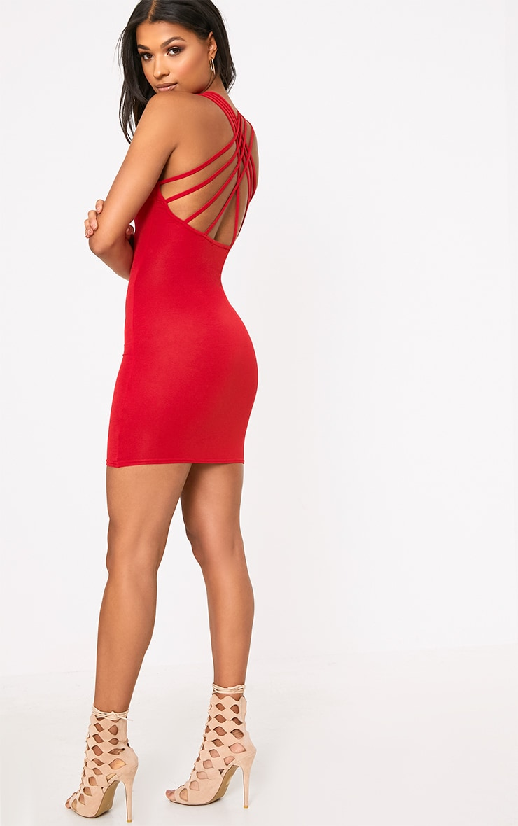 Red Strappy Back Bodycon Dress 4
