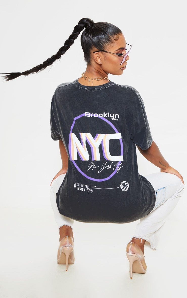 Grey Brooklyn Print Oversized Washed T Shirt 1