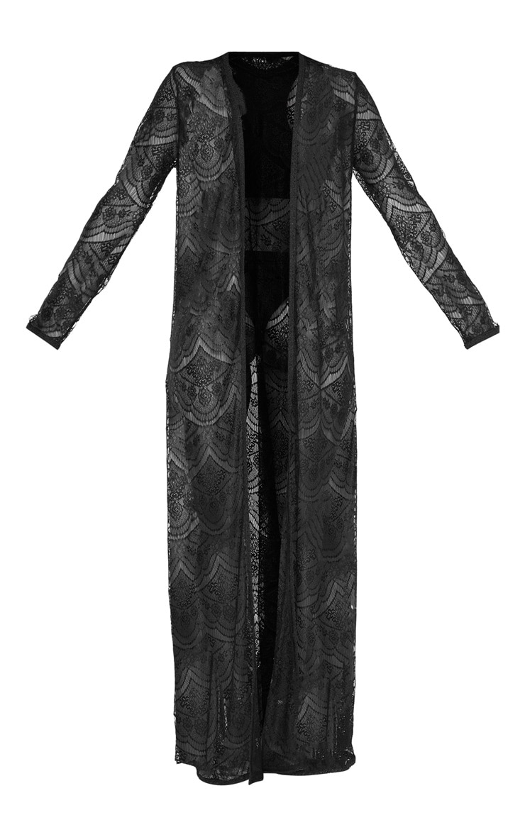 Kimono long en dentelle noire 3