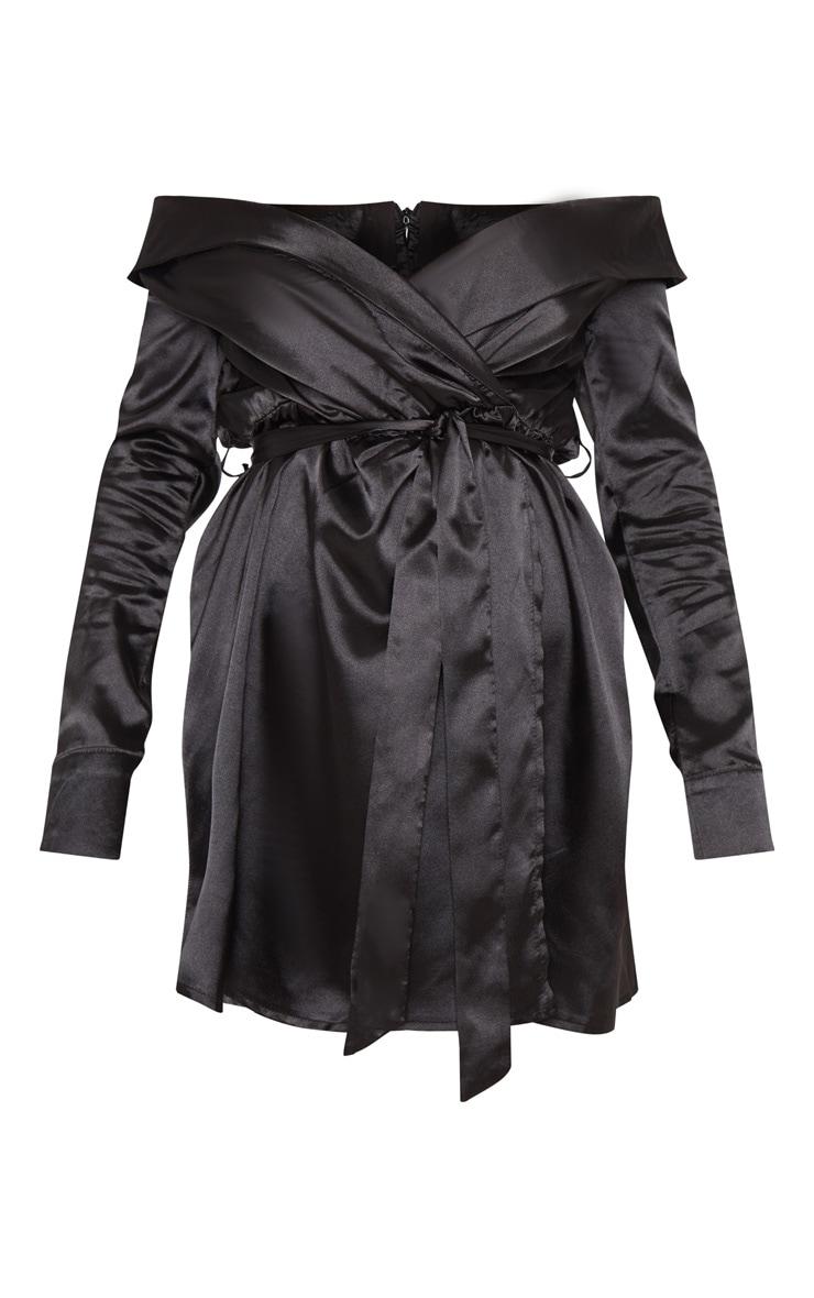 Black Satin Bardot Tie Waist Shift Dress 3