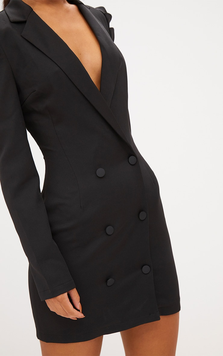 Black Puff Sleeve Button Up Blazer Dress 5