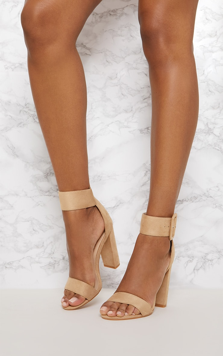 Nude Ankle Buckle Block Heel 2