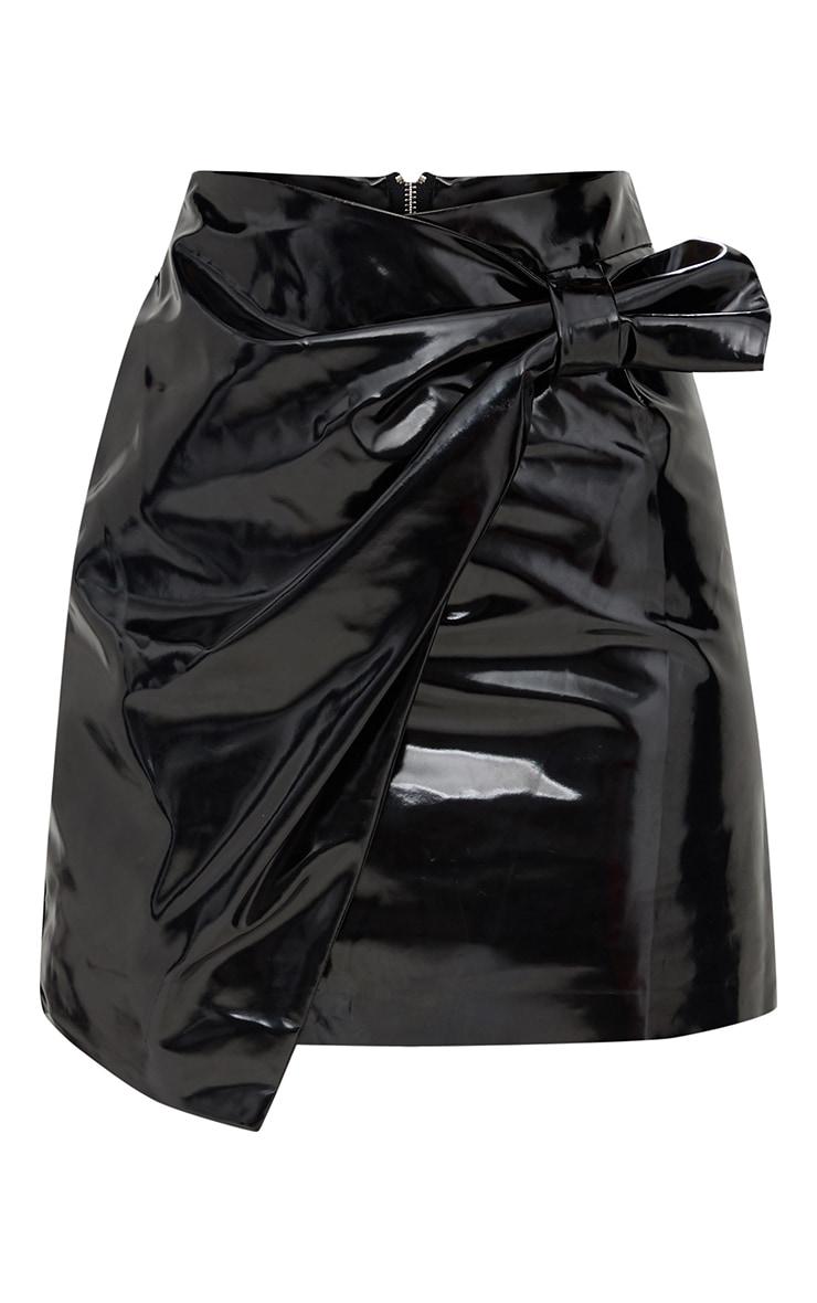 Black Vinyl Bow Wrap Mini Skirt 3