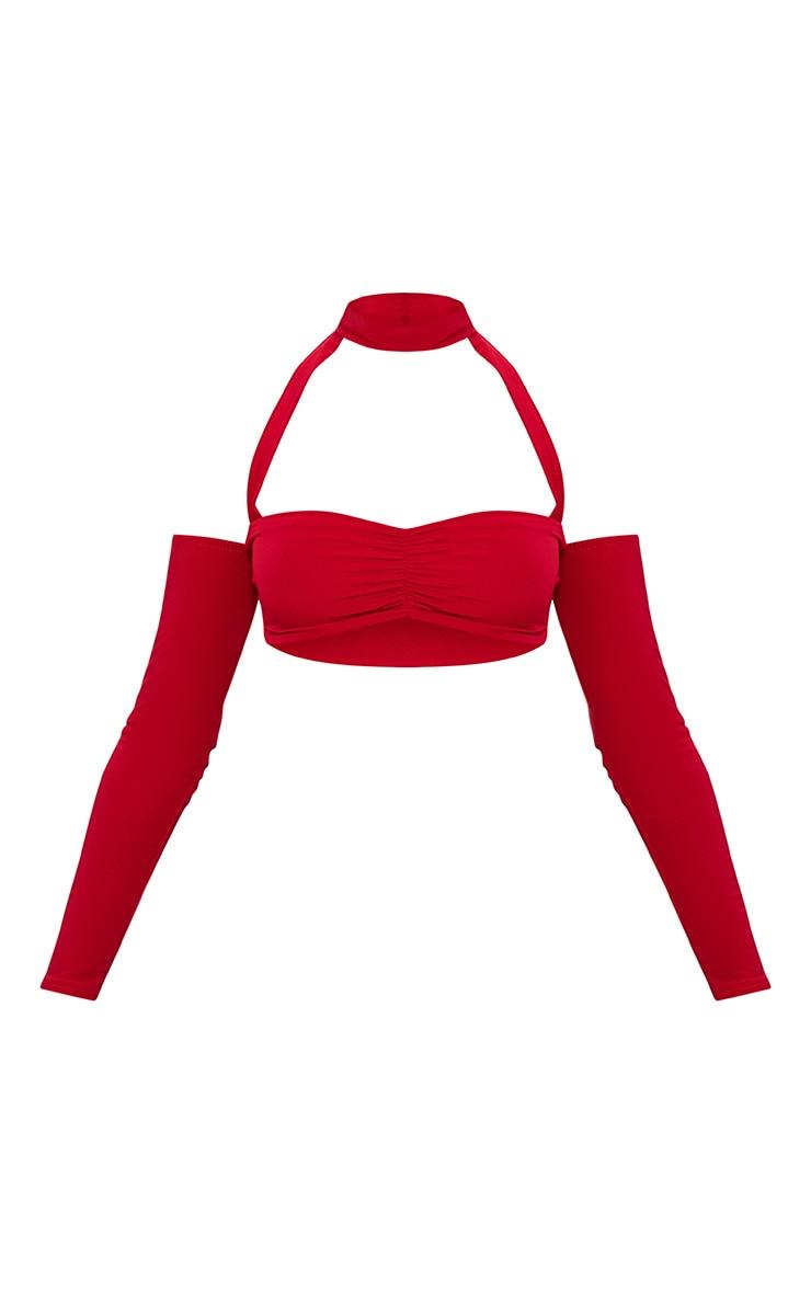 Red Slinky Long Sleeve Cold Shoulder Choker Detail Crop Top 3