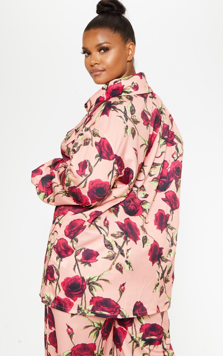 Plus Dusty Pink Rose Printed Pocket Detail Oversized Shirt  2
