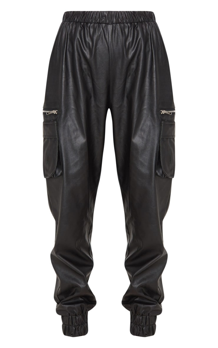 Black Faux Leather Cargo Track Pants 3