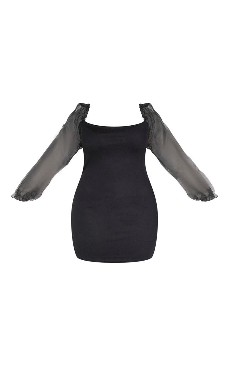 Plus Black Long Sleeve Organza Bodycon Dress 3