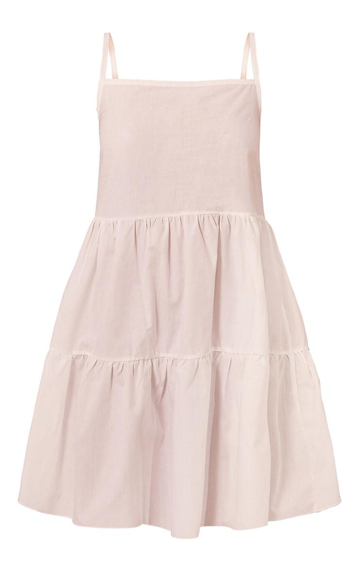 White Cotton Poplin Tiered Strappy Smock Dress 5