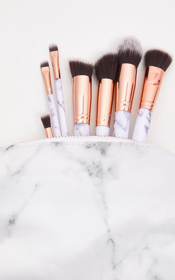 Zoe Ayla 7 Piece Marble Effect Make Up Brush Set with Leather Pouch 5