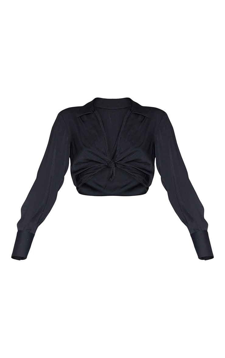 Black Satin Collared Twist Front Cropped Shirt 5