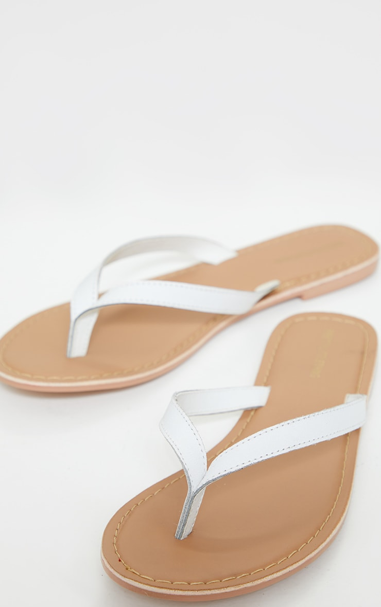 White Leather Contrast Sole Mule Sandals 3