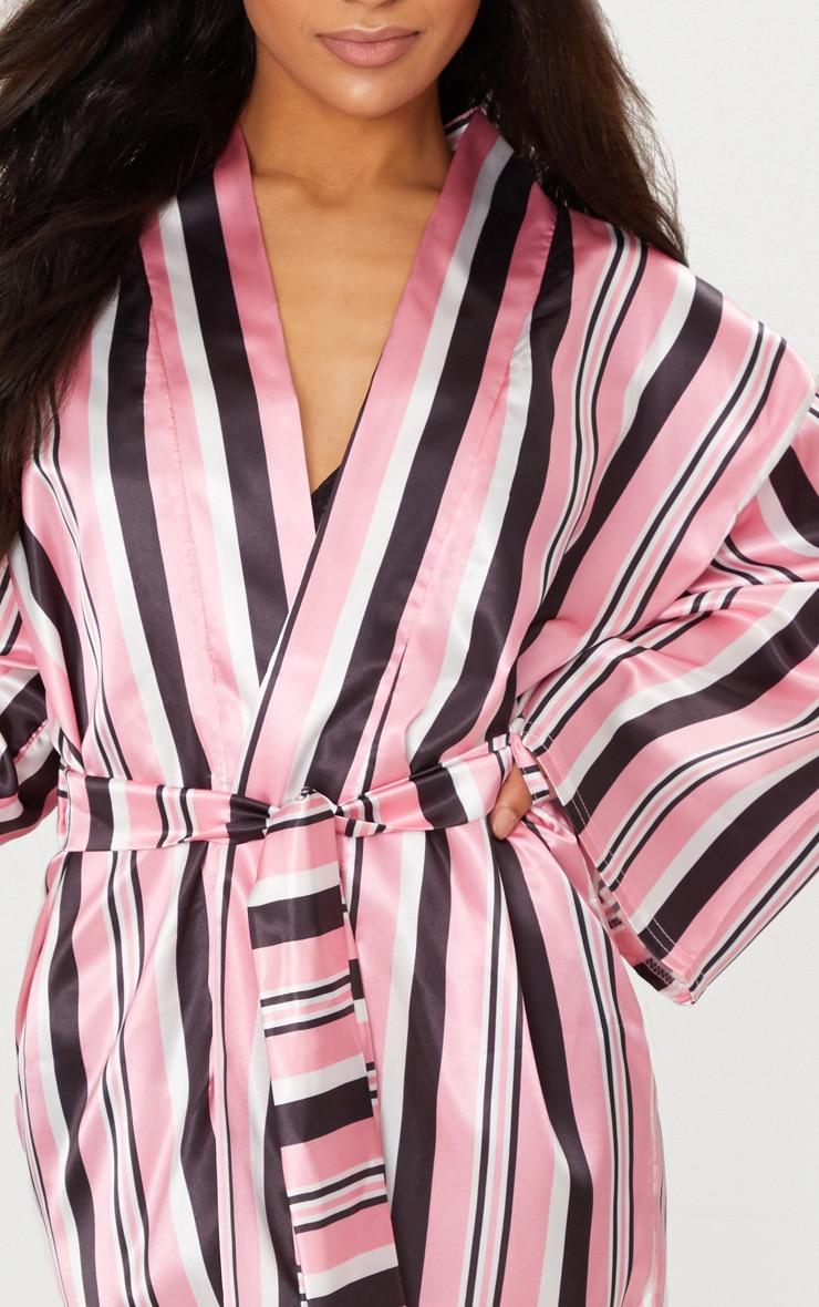 Pink Striped Satin Robe 5
