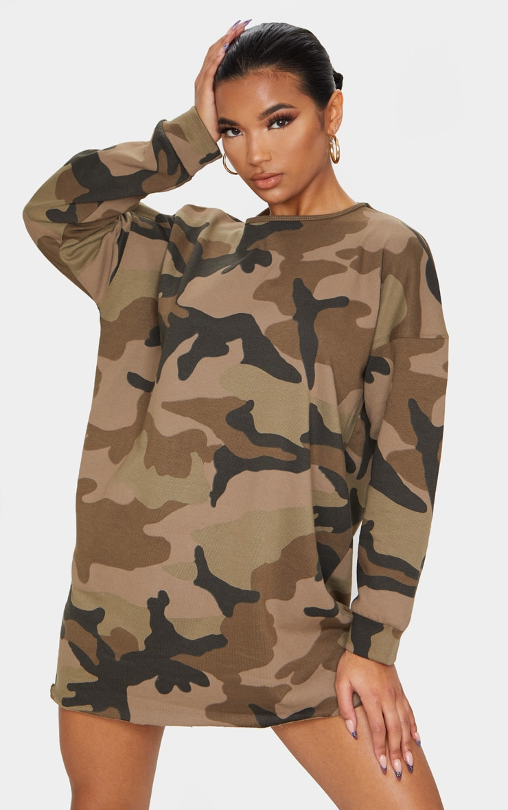 Khaki Camo Loop Back Sweater Dress 1