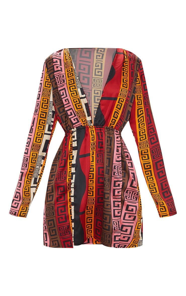 Chocolate Brown Aztec Print Plunge Split Detail Bodycon Dress 3