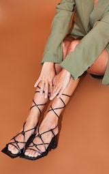 Black Wide Fit Square Toe Knotted Lace Up Block Sandals 1