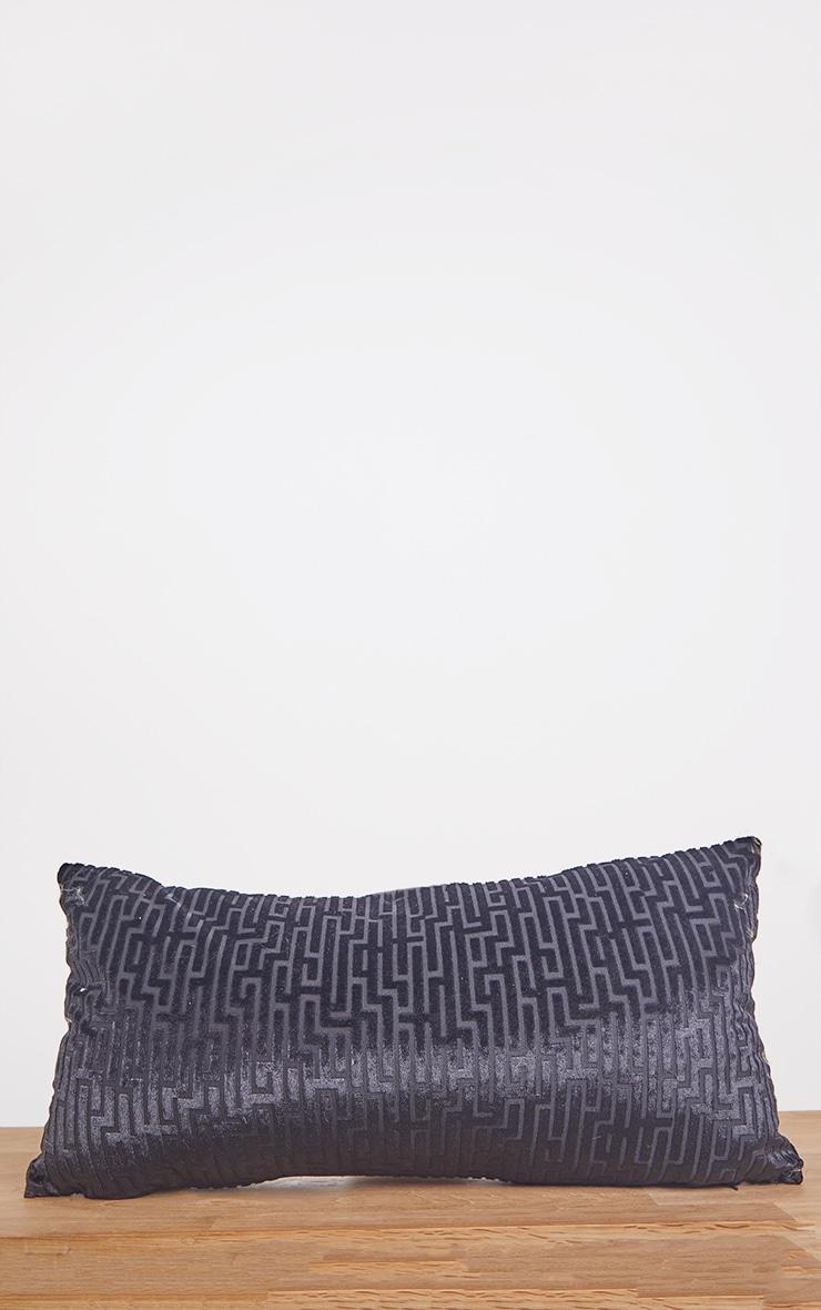 Black Jacquard Velvet Rectangular Cushion 3