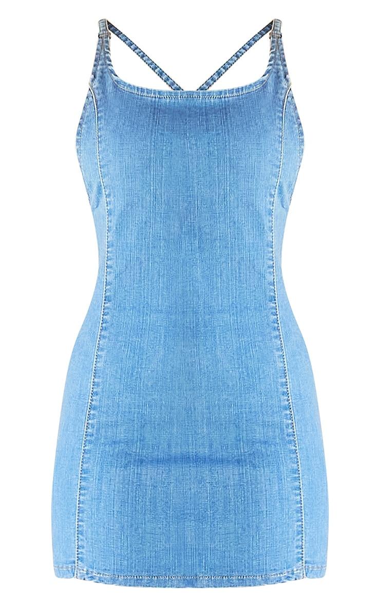 Light Blue Wash Strappy Back Denim Mini Dress 5
