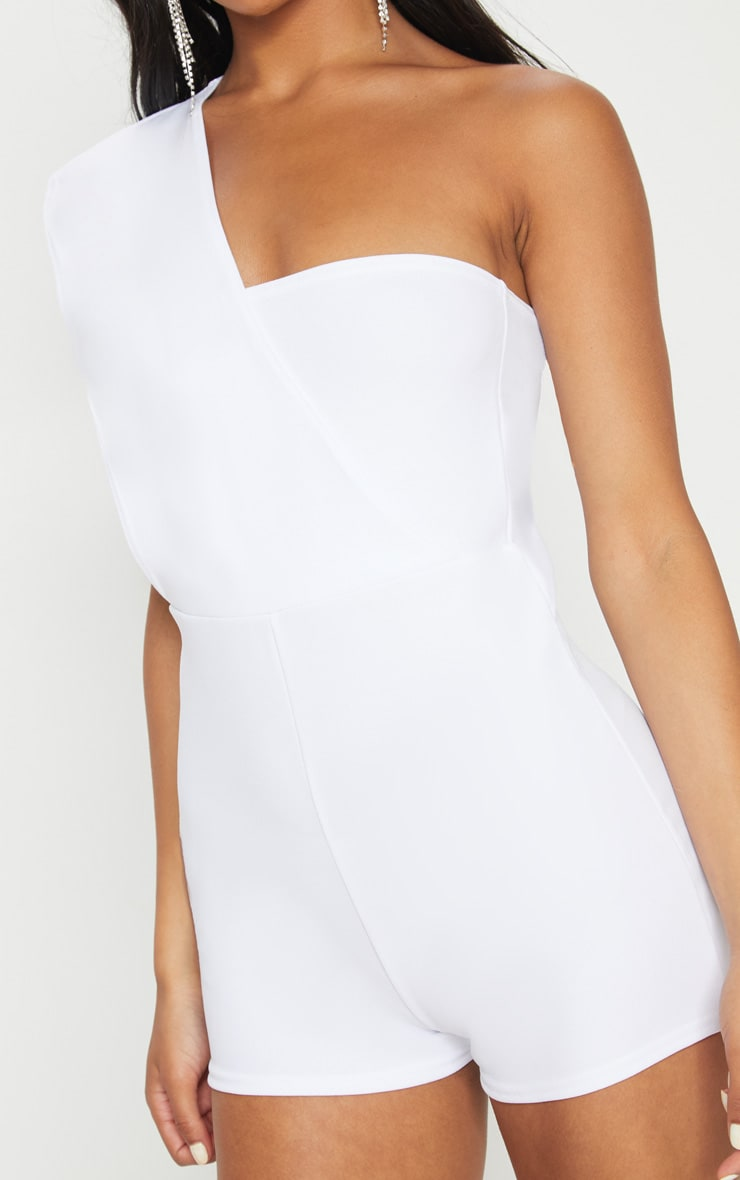 White Drape One Shoulder Playsuit 6