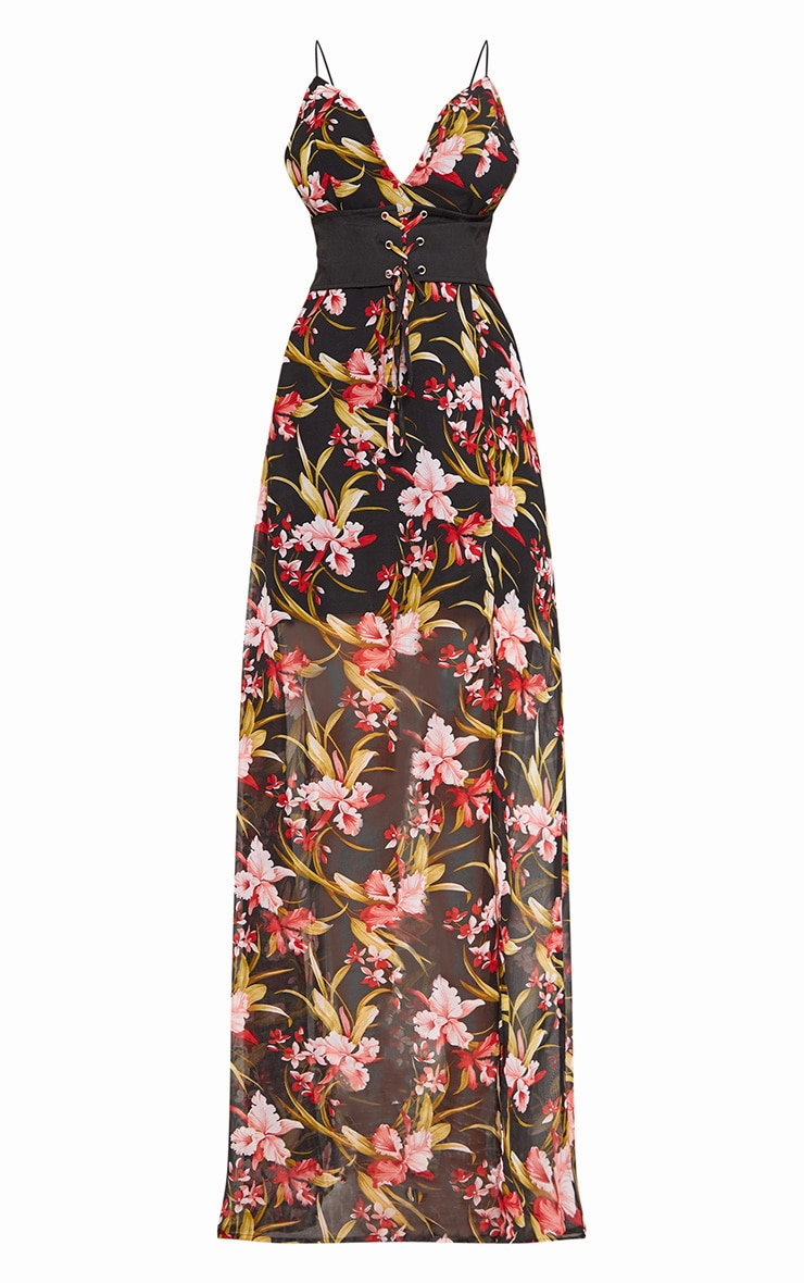 Black Corset Detail Floral Maxi Dress  1