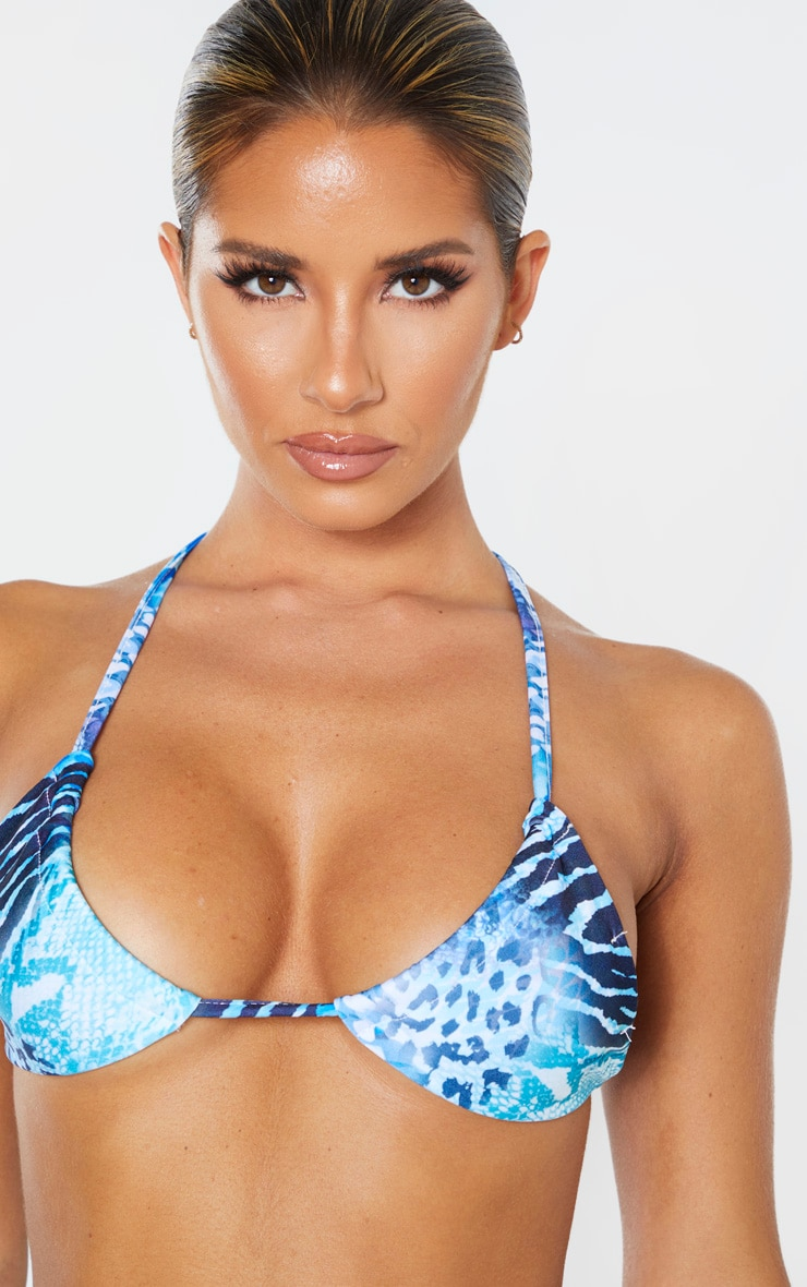 Blue Mixed Snake Upside Down Triangle Bikini Top 5