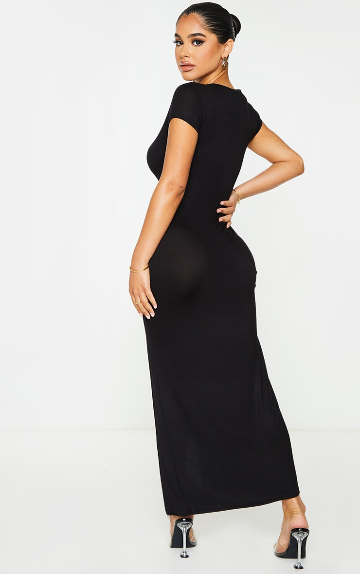 Petite Black Jersey T Shirt Midi Dress 3