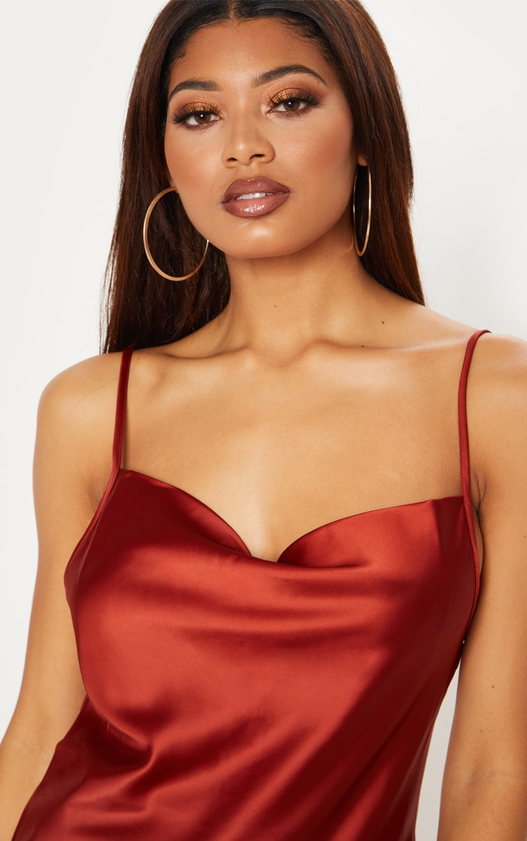 Tall Tobacco Satin Cowl Neck Cami Top 5