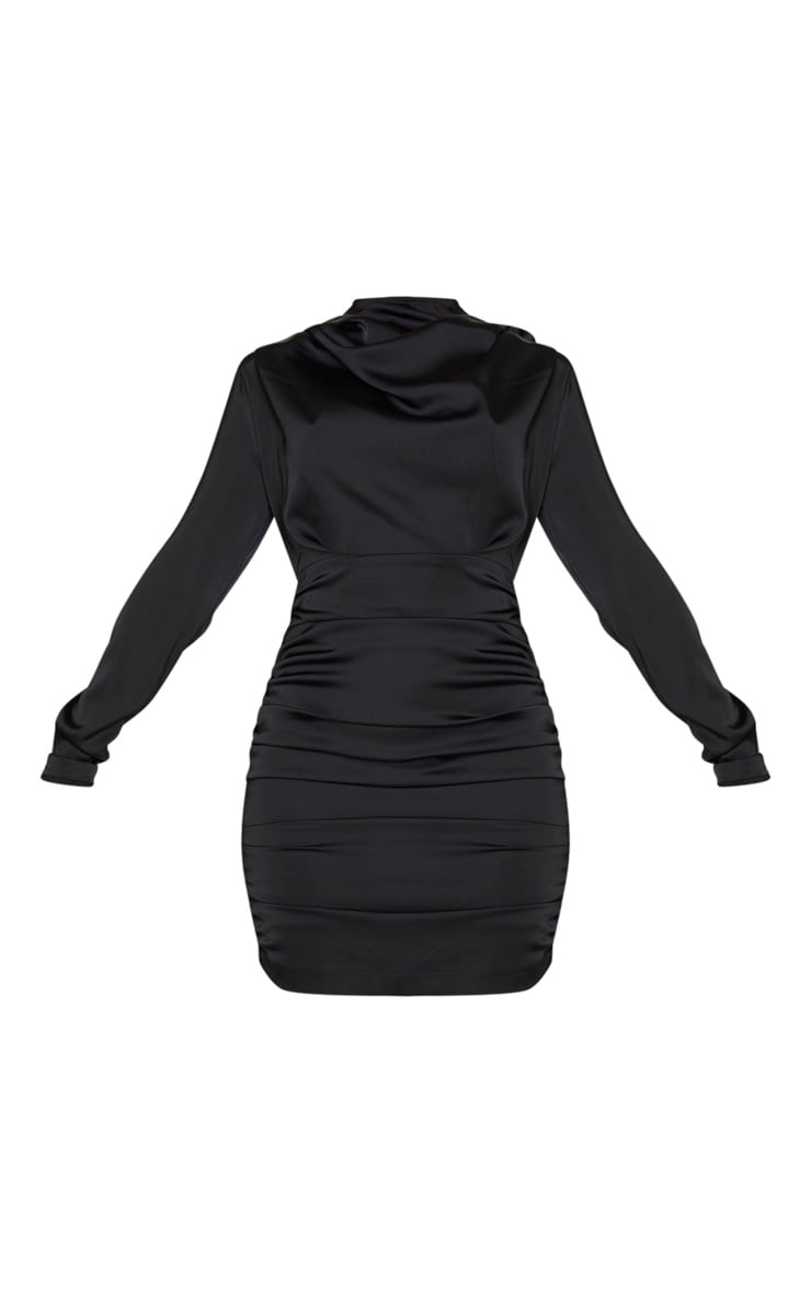 Black Ruched Detail Long Sleeve Bodycon Dress 5