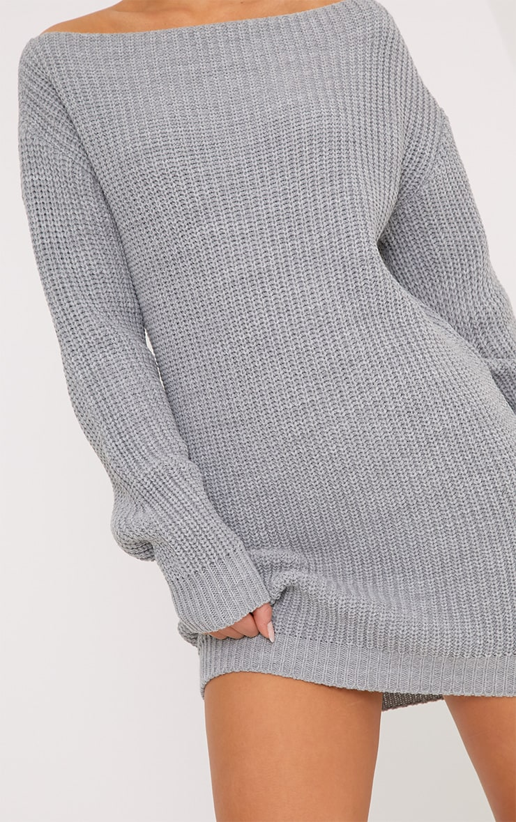 Larissa Grey Off The Shoulder Knitted Dress 5