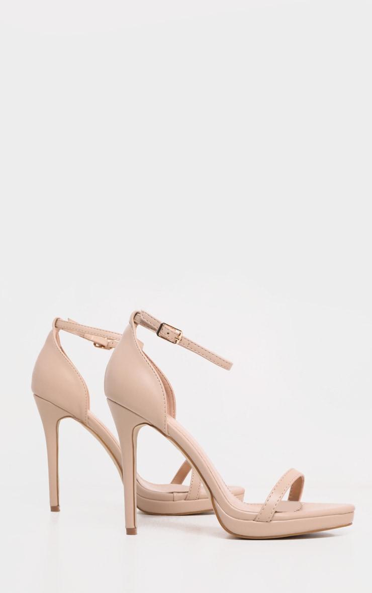 Enna Nude Single Strap Heeled Sandals 4