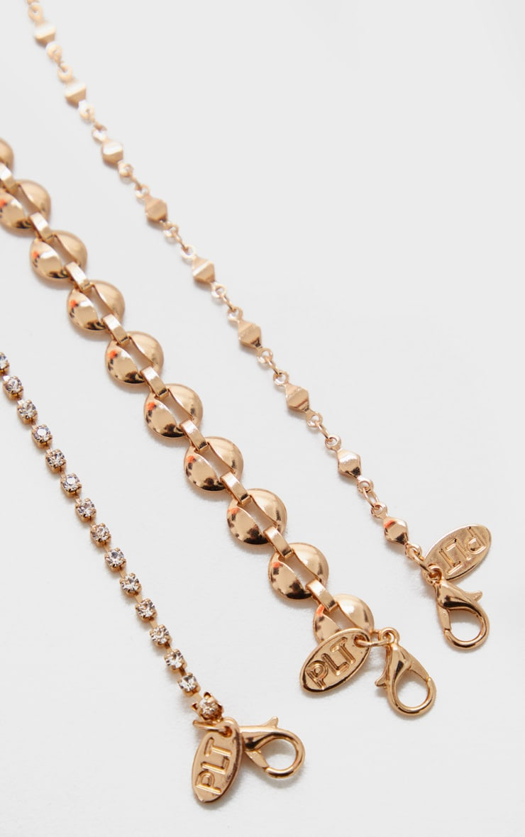 Gold Multi Chain And Diamante Anklet Three Pack 3