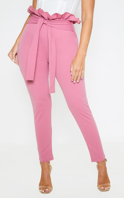 Washed Violet Paperbag Skinny Trousers