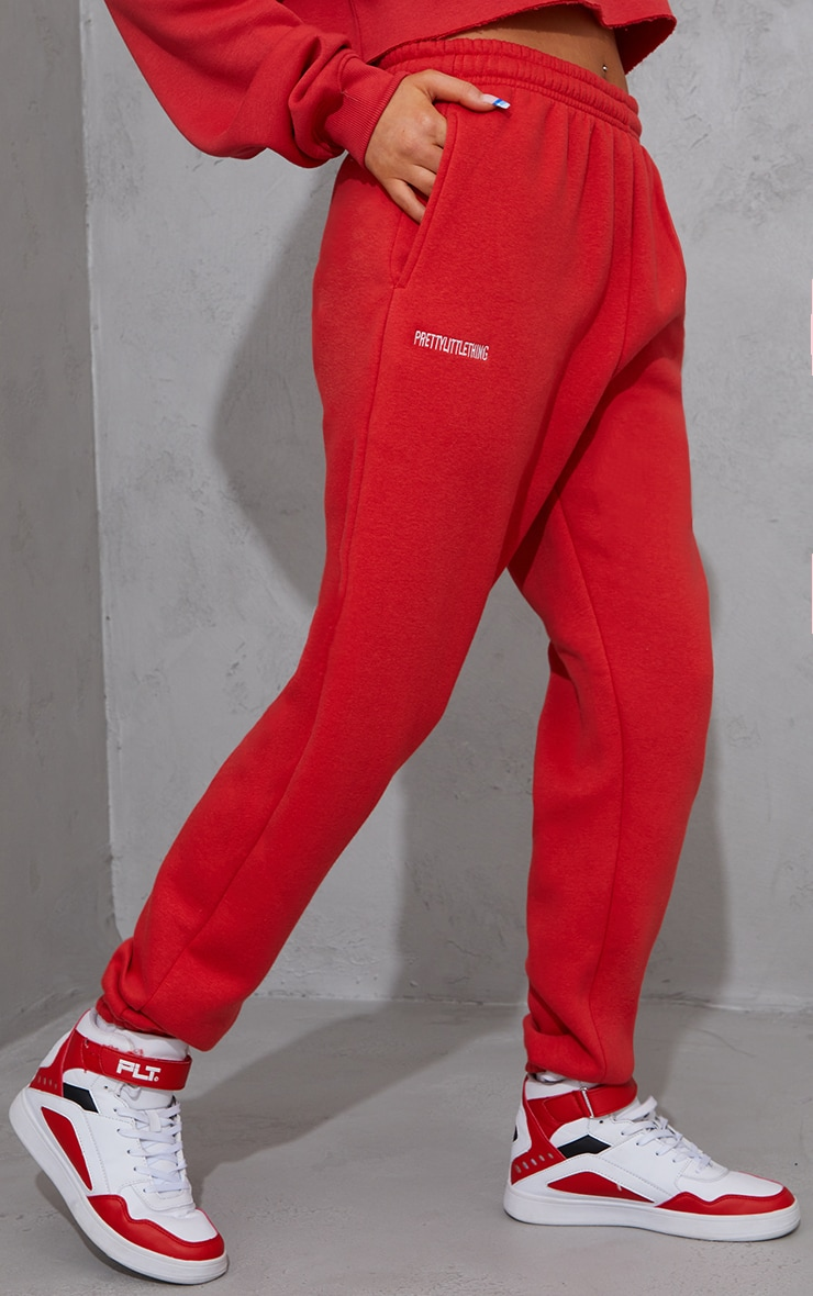 PRETTYLITTLETHING Red Block Embroidered Joggers 2