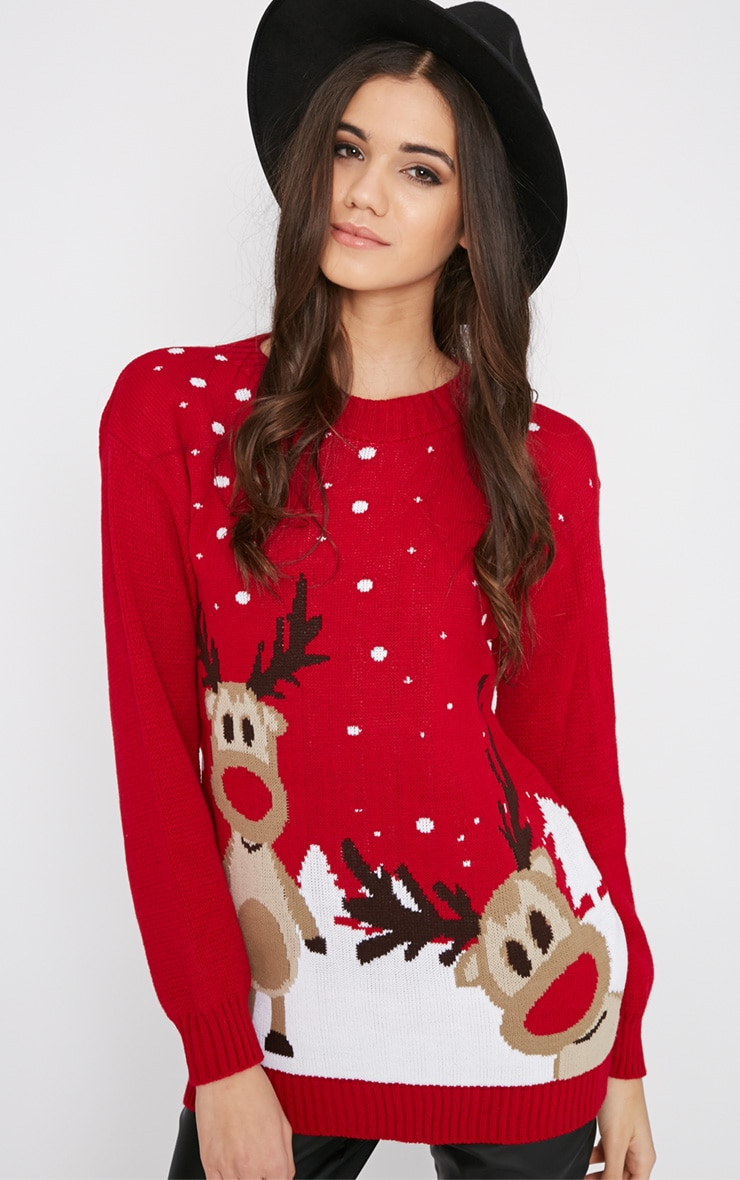 Tarah Red Reindeer Snow Christmas Sweater 4
