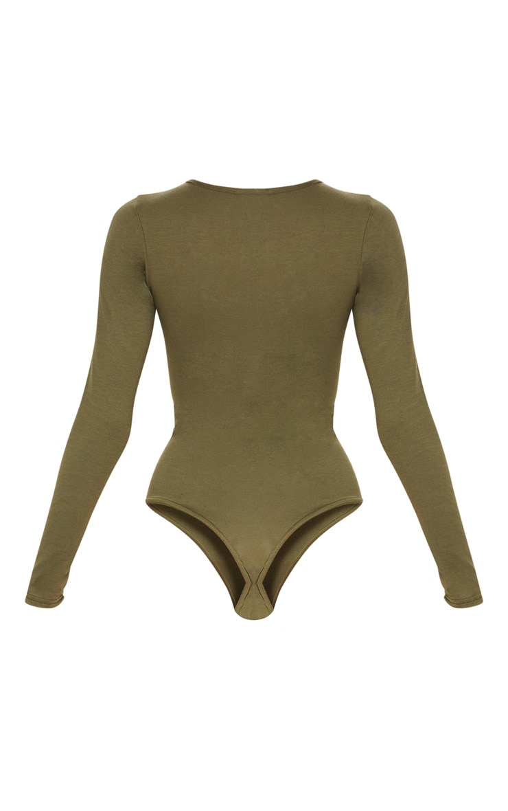 Basic Khaki Crew Neck Long Sleeve Bodysuit 4