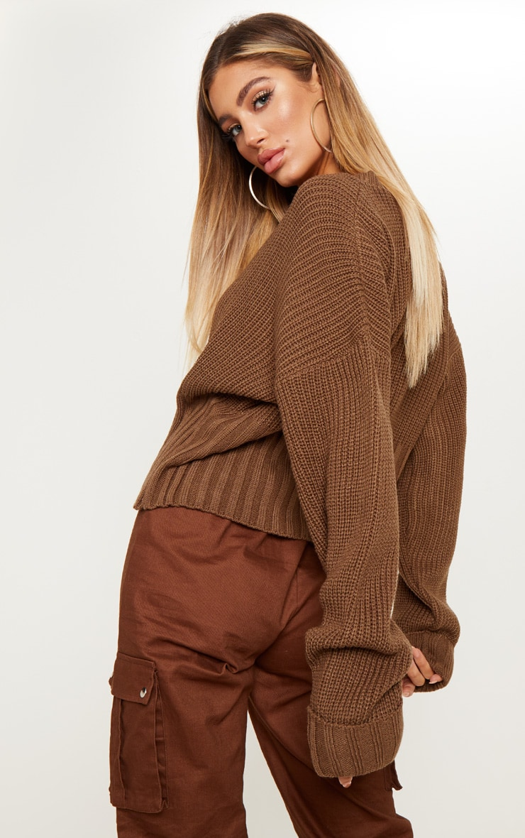 Brown Ribbed Hem Knitted Jumper  2