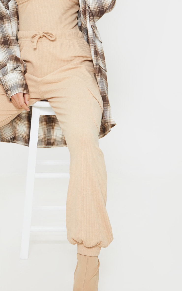 Petite Camel Cargo Detail Ribbed Track Pants 4