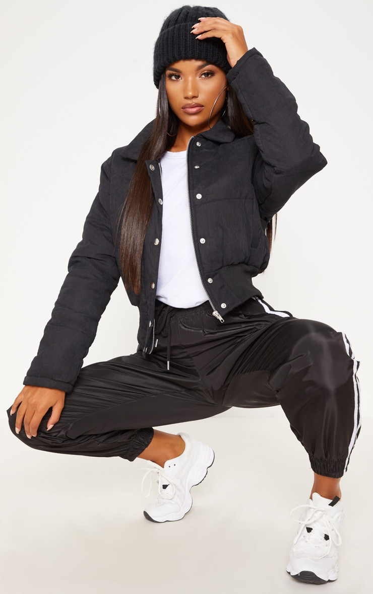 Black Peach Skin Cropped Puffer Jacket 1