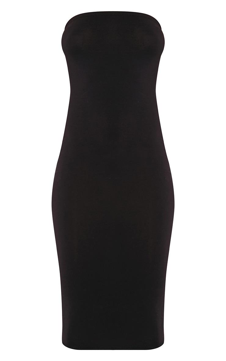 Basic robe midi bandeau noire en jersey 3