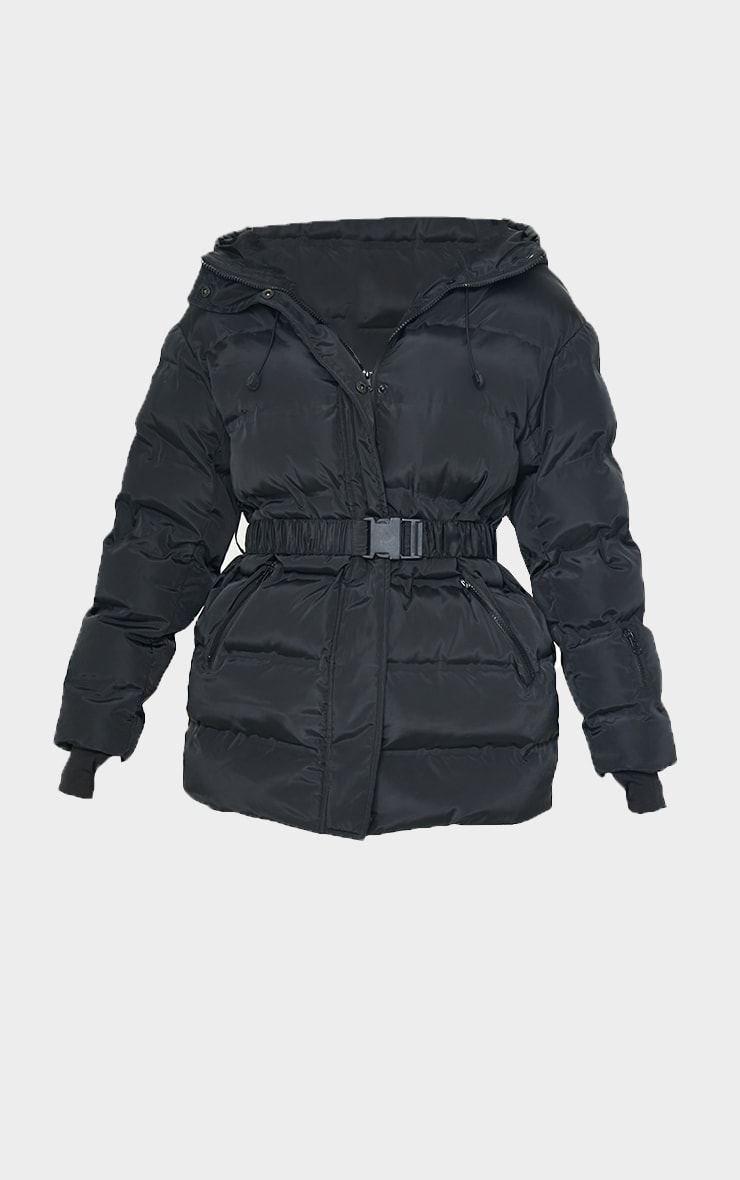 Black Quilted Belted Cuffed Sleeve Puffer Coat. 5