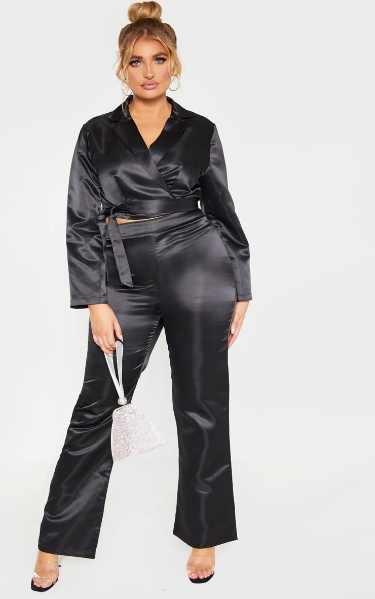 Plus Black Satin Wide Legged Pants 1
