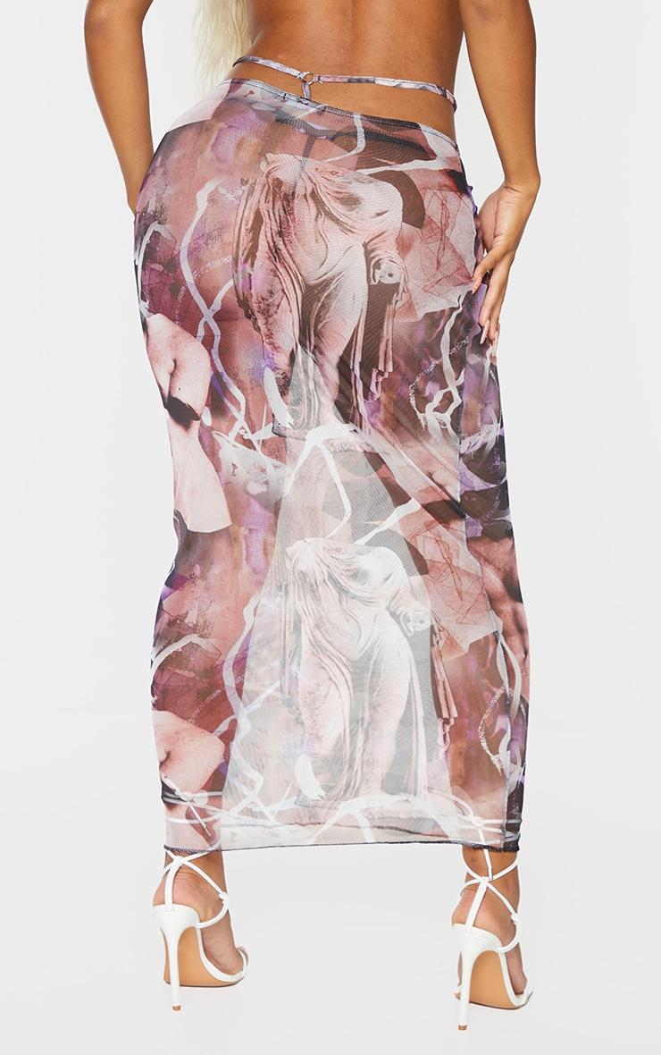 Shape Purple Renaissance Print Sheer Mesh Ring Detail Midaxi Skirt 3