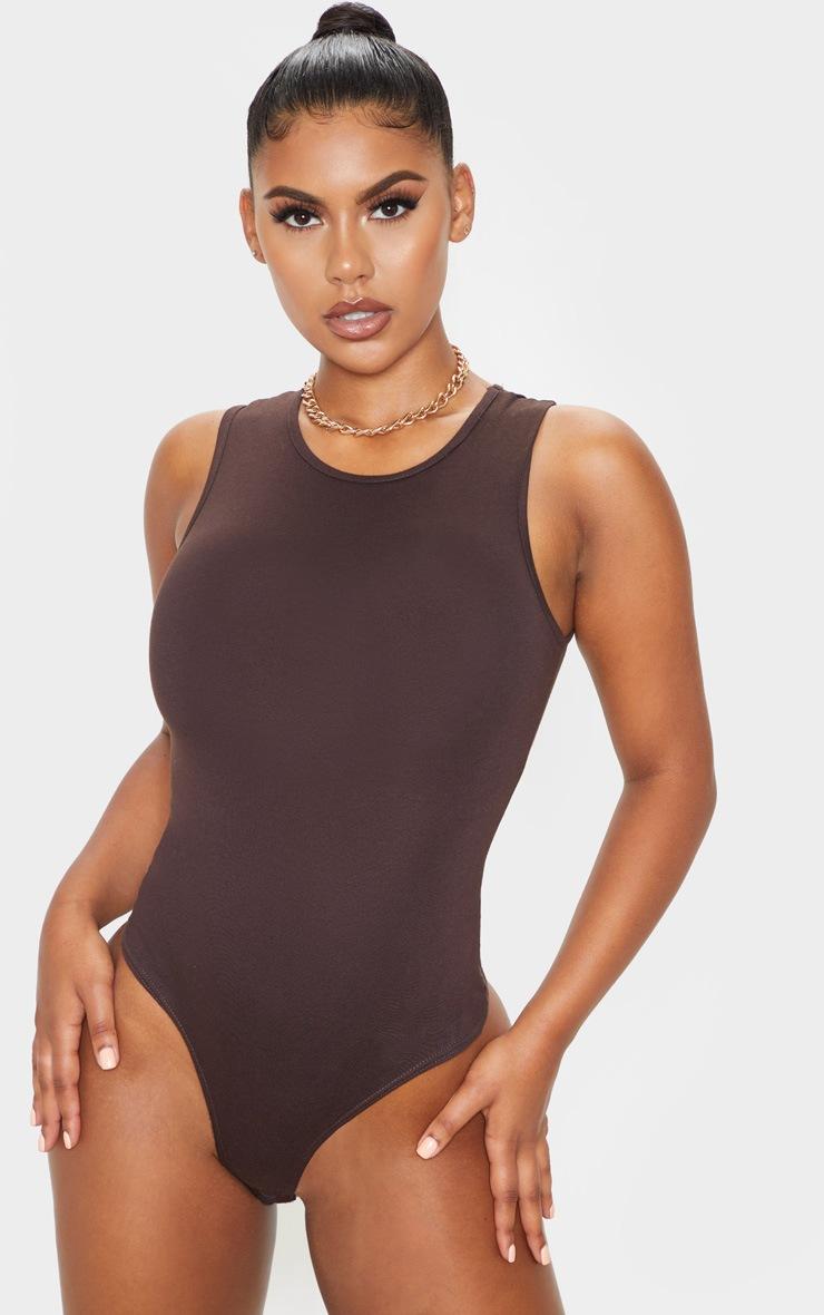 Chocolate High Neck Sleeveless Bodysuit 2