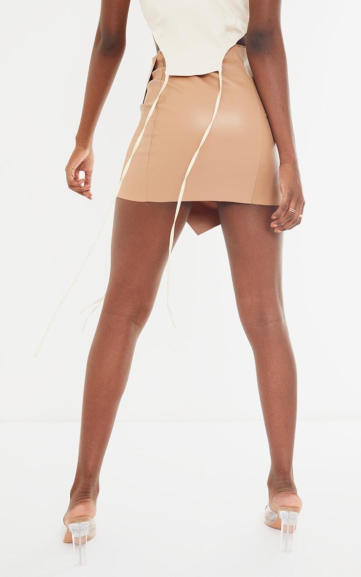 Tall Stone Faux Leather Wrap Mini Skirt 3
