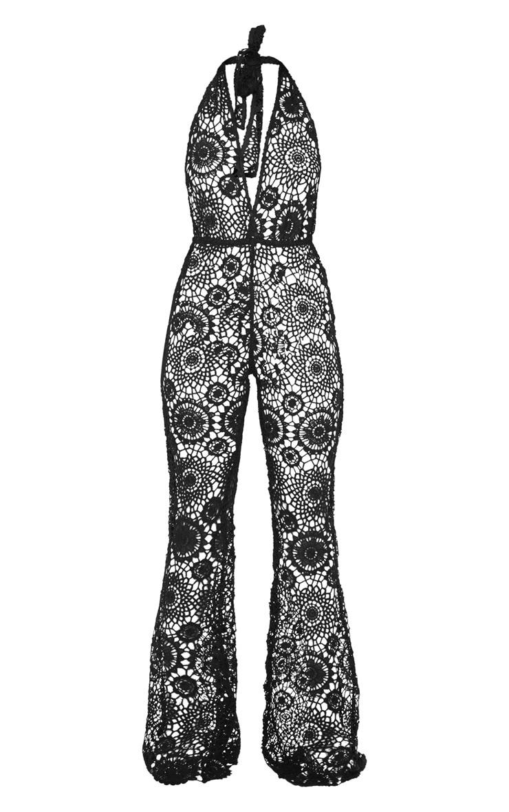 Black Crochet Lace Halterneck Jumpsuit 3