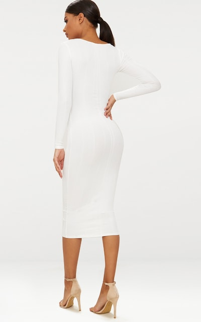White Bandage Long Sleeve Square Neck Midaxi Dress