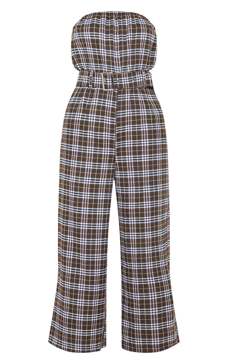 Chocolate Checked Belted Culotte Jumpsuit 3